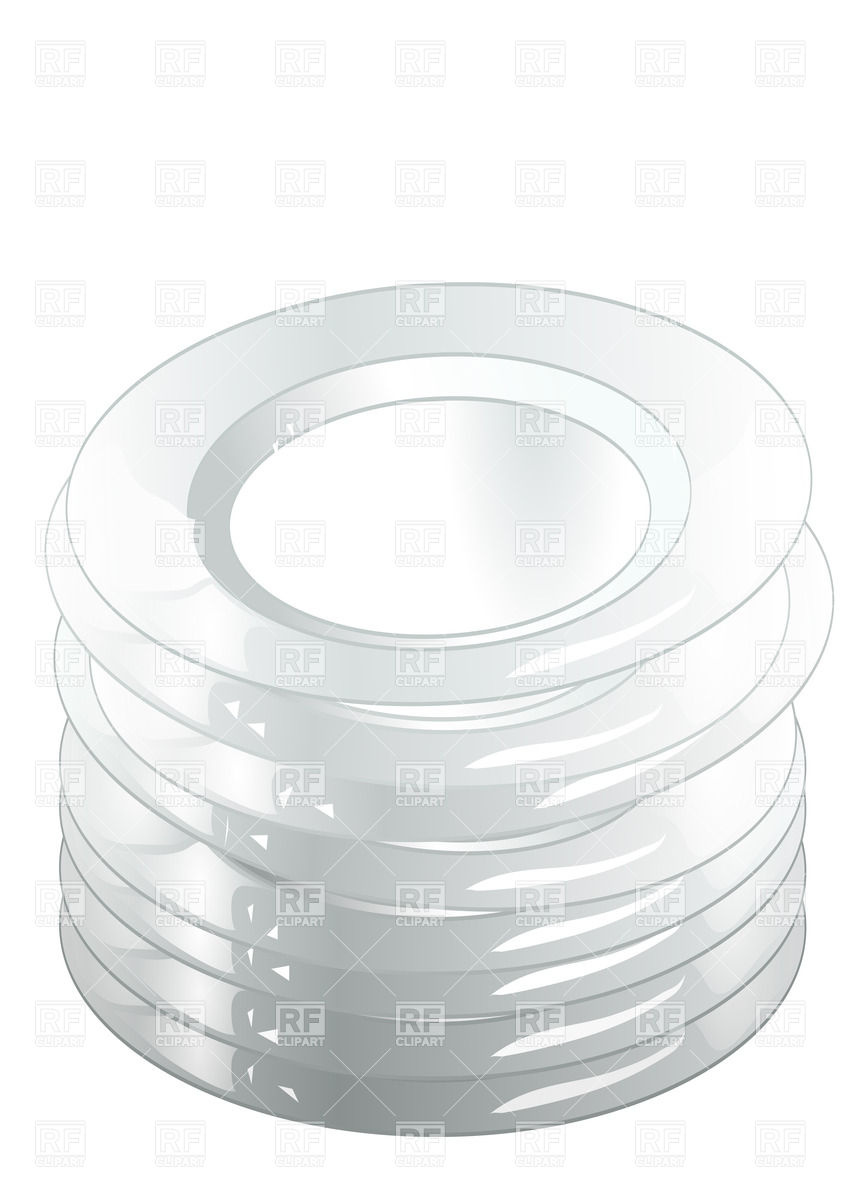Stack Of White Plates Download Royalty Free Vector Clipart  Eps