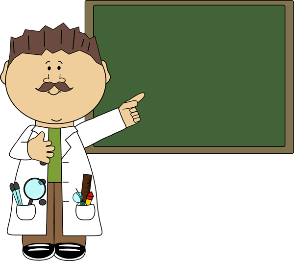 Teacher Pointing To Chalkboard Clip Art Image   Man Science Teacher