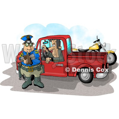 Truck Watching A Cop Writing A Speeding Ticket Clipart Illustration