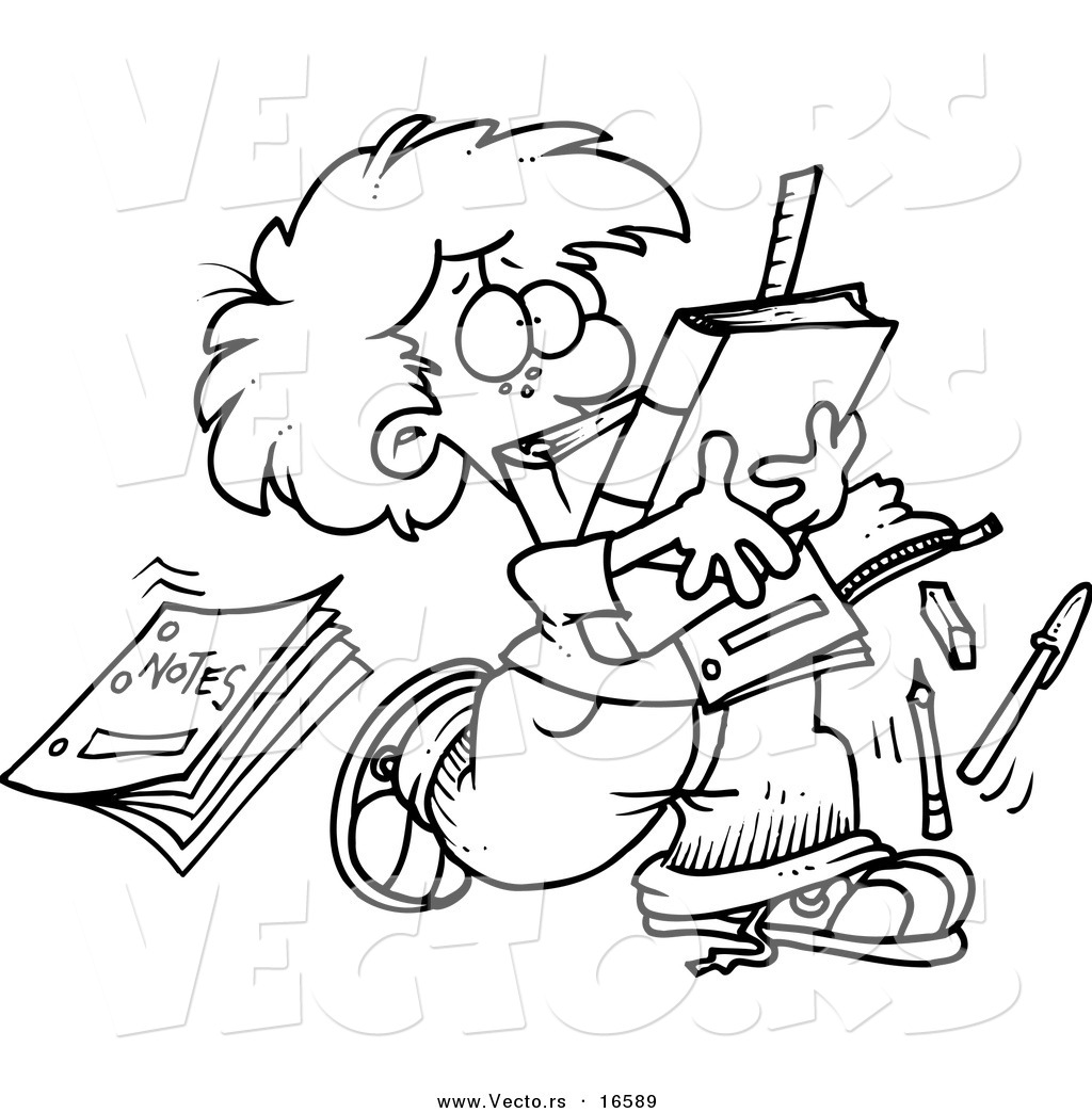 Unorganized Person Clipart Cartoon School Boy Dropping