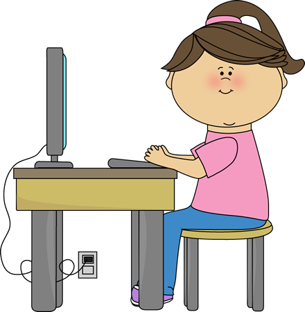 Using A Computer Clip Art   School Girl Using A Computer Vector Image