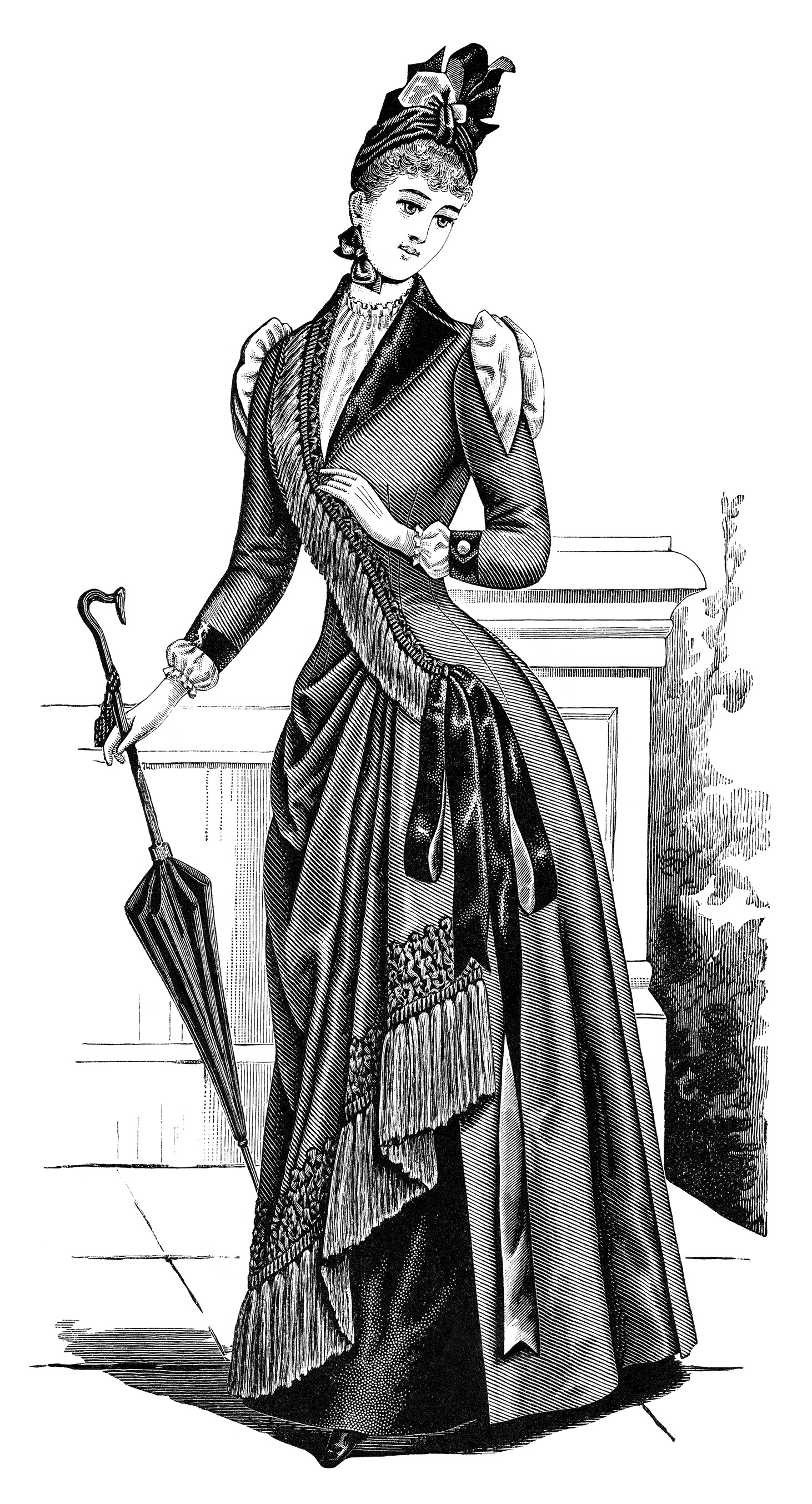 Victorian Lady Clipart Black And White Clip Art Edwardian Fashion