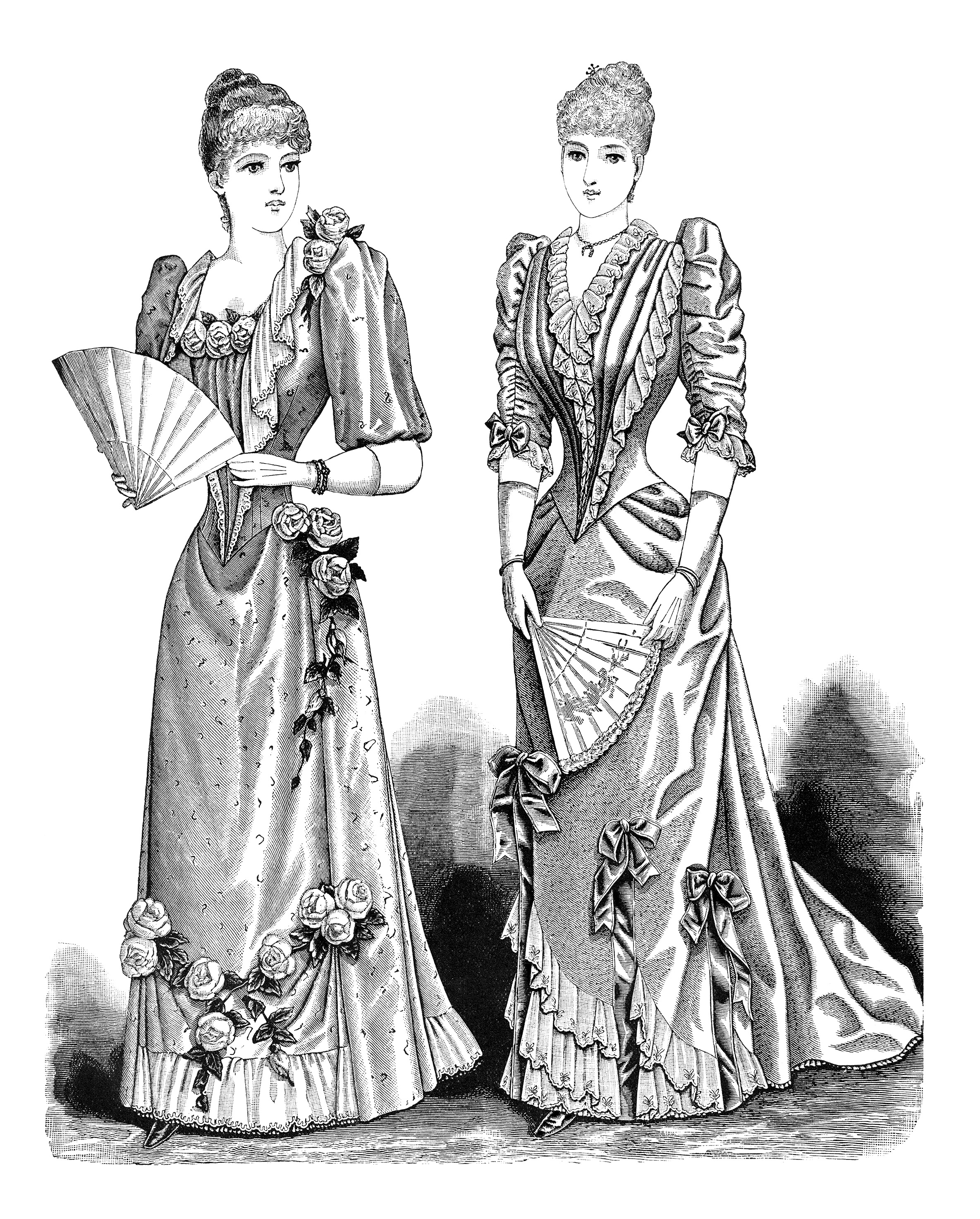 Vintage Clipart Elegant Lady Printable Old Fashioned Woman S Dress