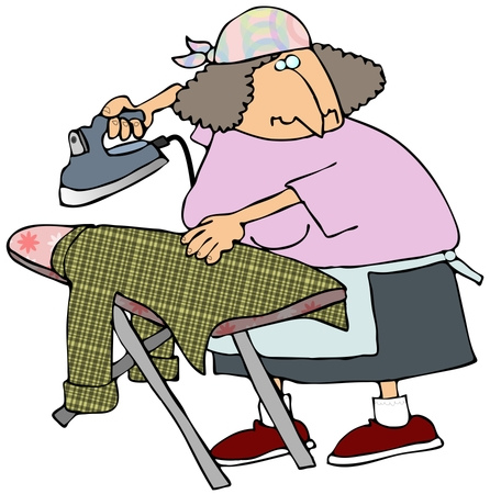 Woman Ironing A Shirt On An Ironing Table While Watching Tv Clipart