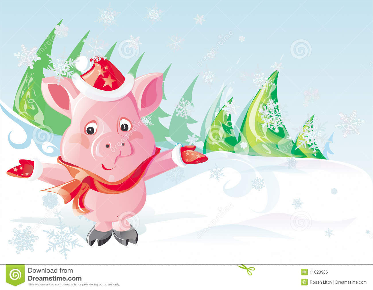 Christmas Pig In Snow Mountain