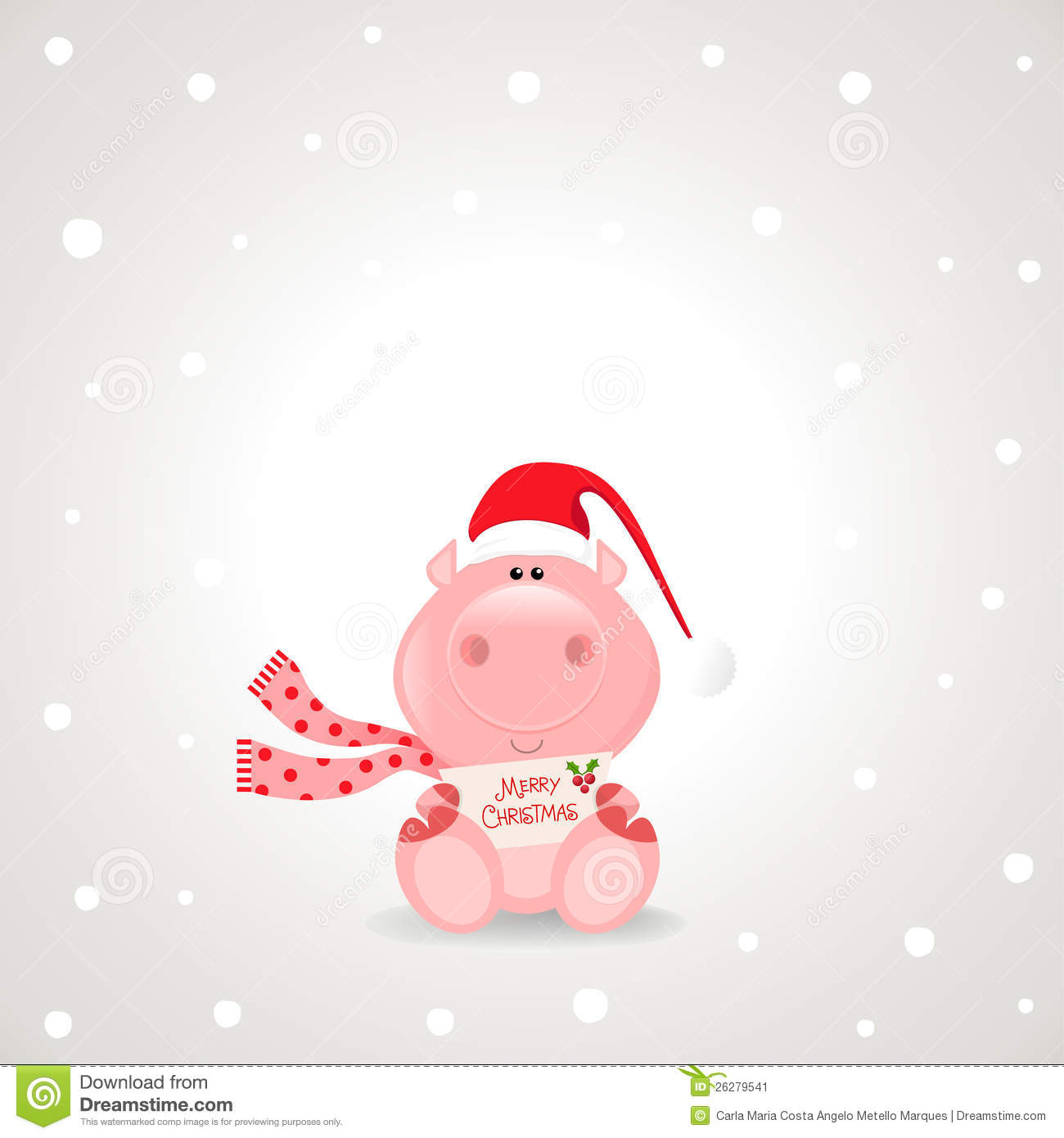 Christmas Theme  Funny Rose Pig Holding A Merry Christmas Sign