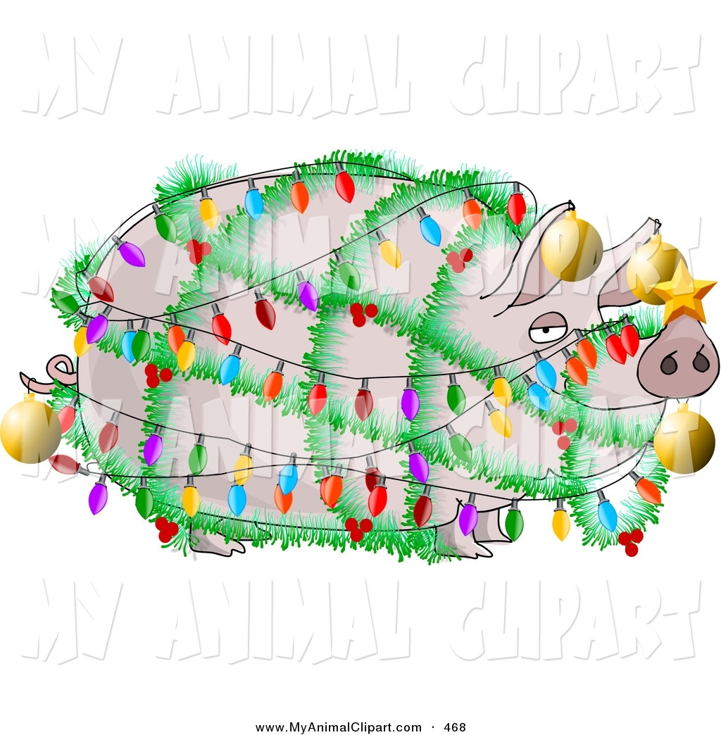 Clip Art Of A Funny Fat Pig Decorated With Christmas Lights And