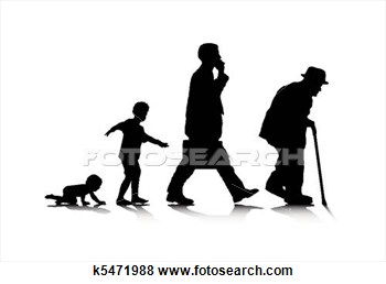 Clip Art Of Human Aging K5471988   Search Clipart Illustration