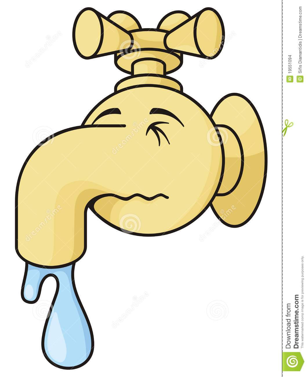 Dripping Faucet Cartoon Illustration Simulating Human Nose On White