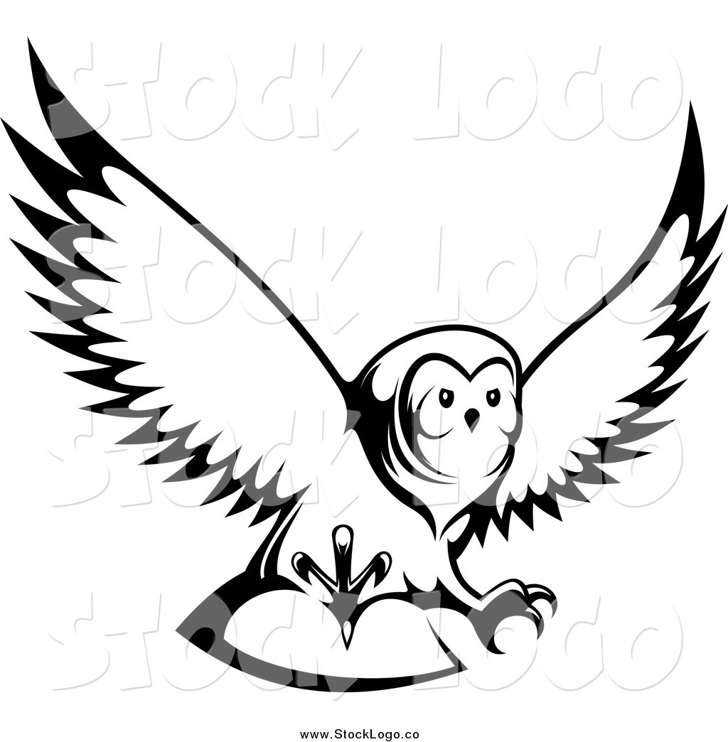 flighing clip art black and white barn owl