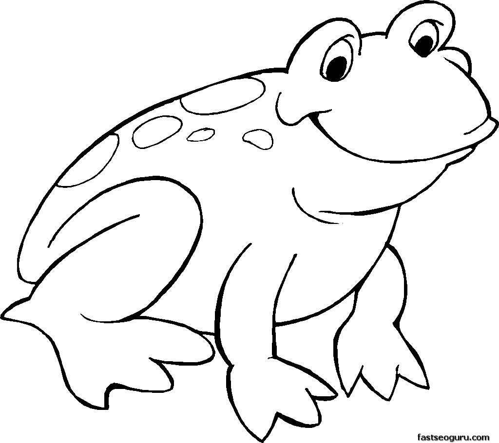 Free Printable Smiling Frog Coloring Page    Printable Coloring Pages