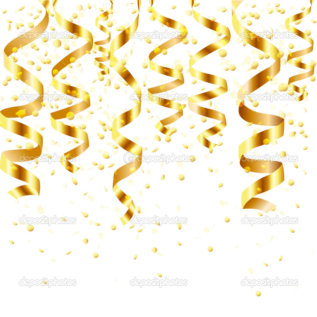 Gold Dot Confetti Background Gold Curling Stream Stock