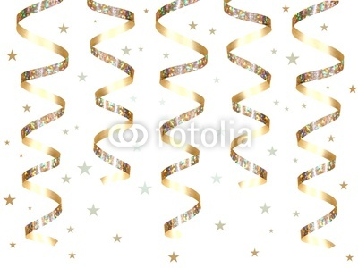Hanging Gold Party Ribbon And Confetti By Jenifoto Royalty Free Stock