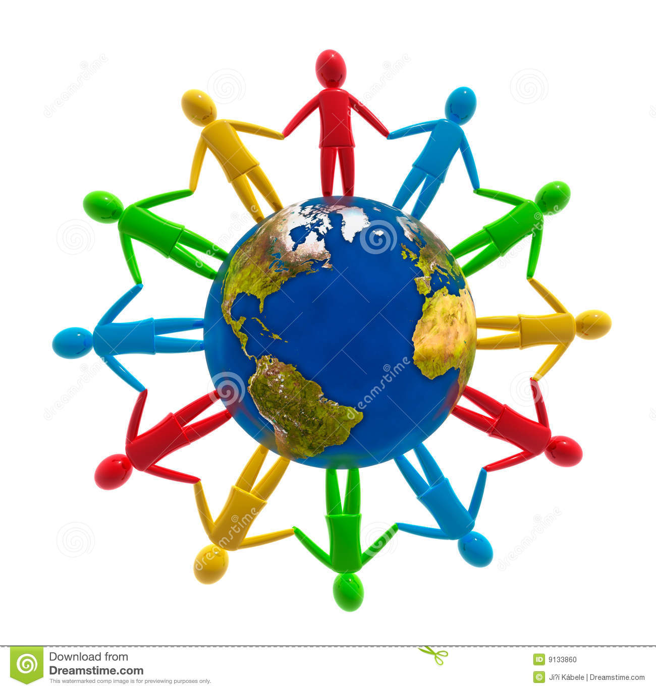 Human Circle Around The Globe  Concept Of Global Peace Unity And