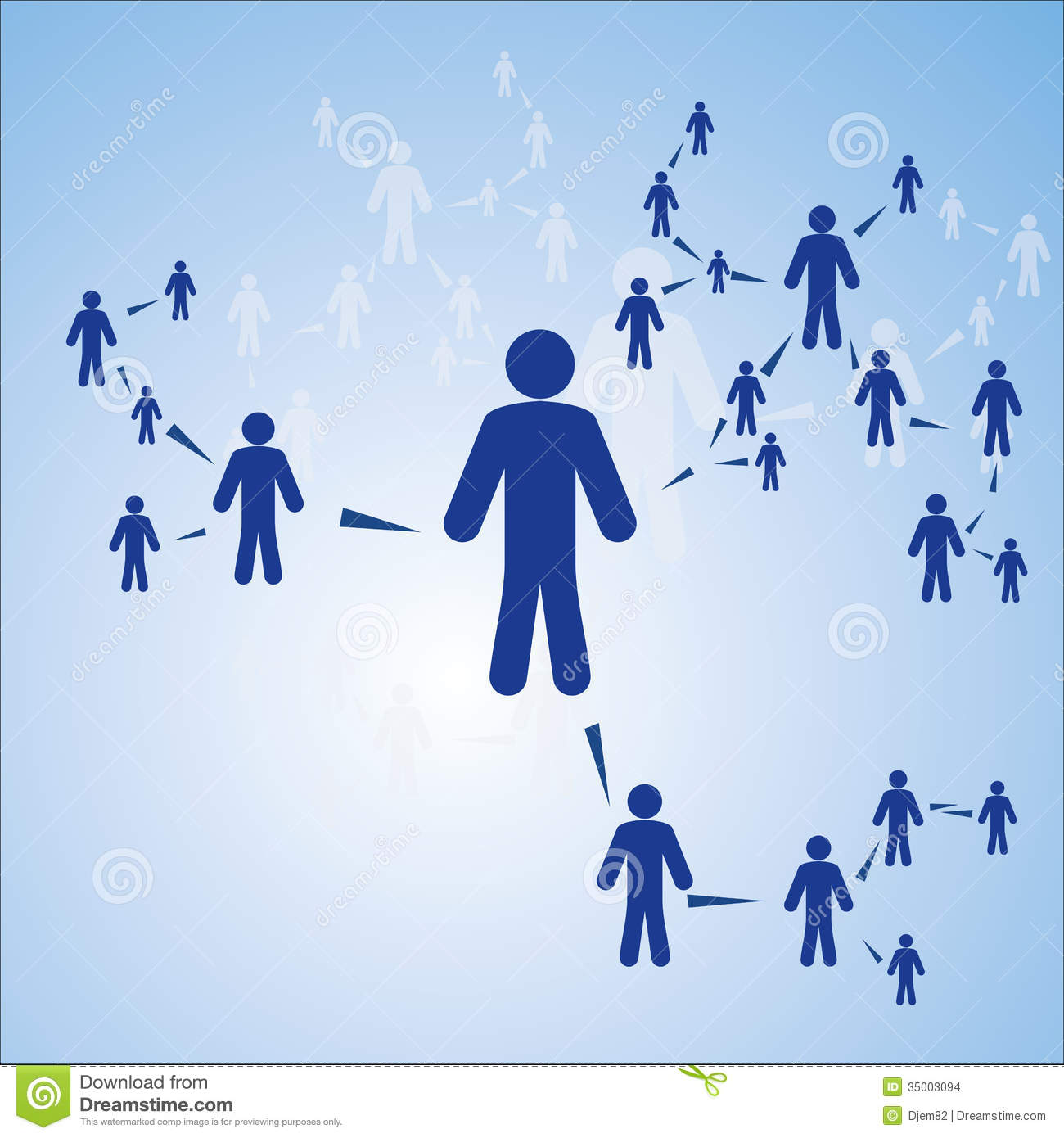 Human Connection On The Blue Background Vector Illustration
