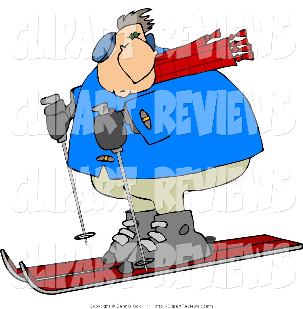 Larger Preview  Clip Art Of A Heavyset Man Snow Skiing Down A Winter