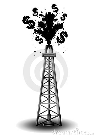 Oil Drilling Rig With Black Money Stock Photo   Image  5290360