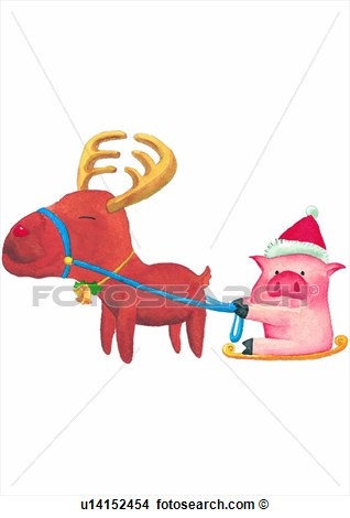 Pig Christmas Deer Watercolor Pull  Fotosearch   Search Clip