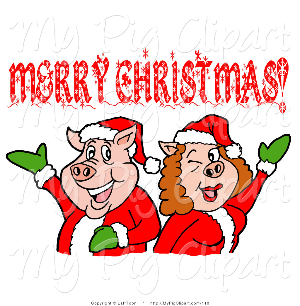 Pink Pig Couple In Santa Suits Holding Their Arms Up Under A Merry