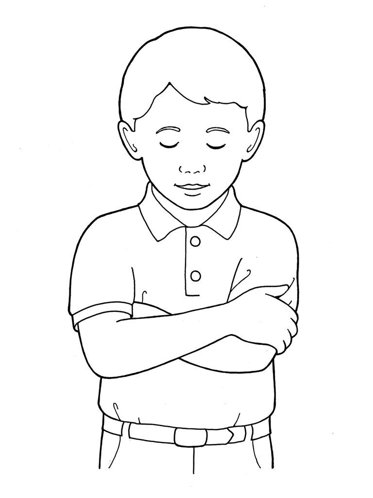 Primary Boy Folding Arms And Bowing Head