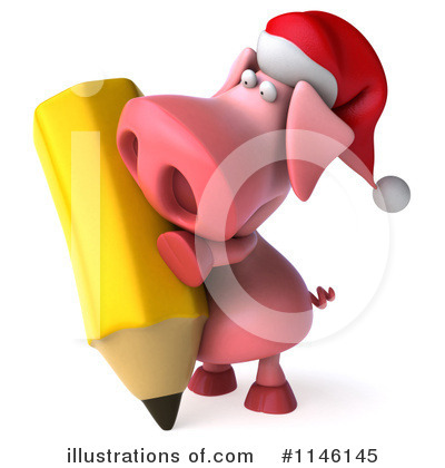 Royalty Free  Rf  Christmas Pig Clipart Illustration By Julos   Stock