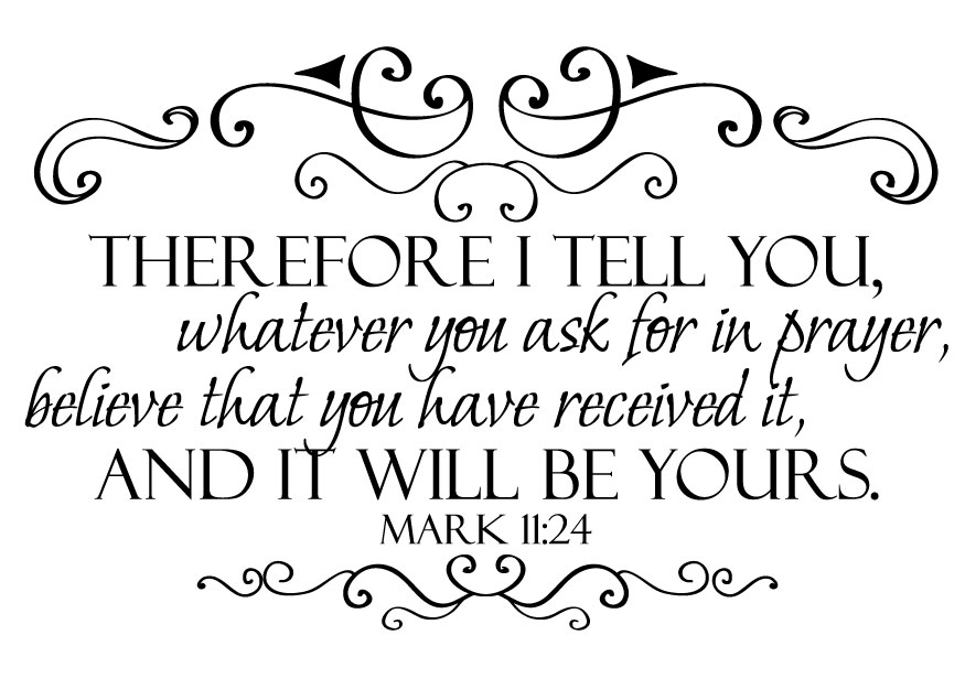 Say To You All Things For Which You Pray And Ask Believe That You