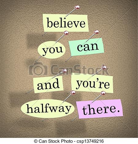 Stock Illustratie   Believe You Can You Re Halfway There Words