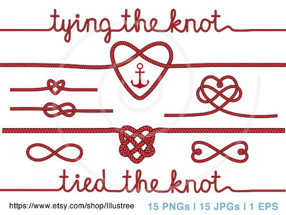 Tying The Knot Rope Heart Clip Art For Wedding Invitation Anchor