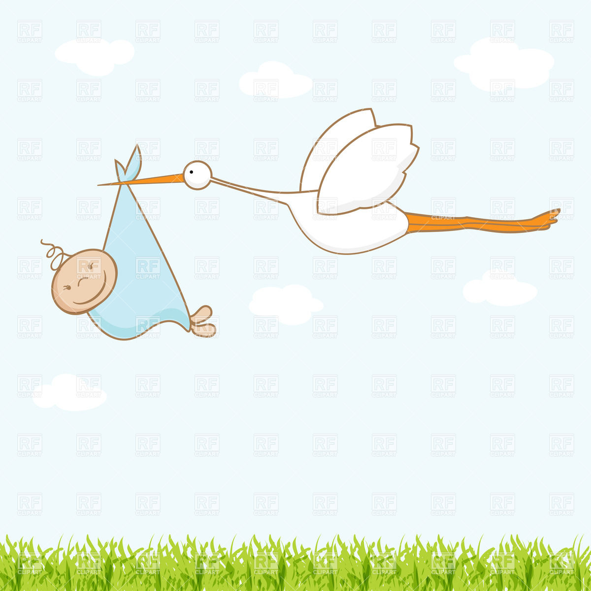 Baby Arrival Card With Flying Stork That Brings Newborn 22284 Plants