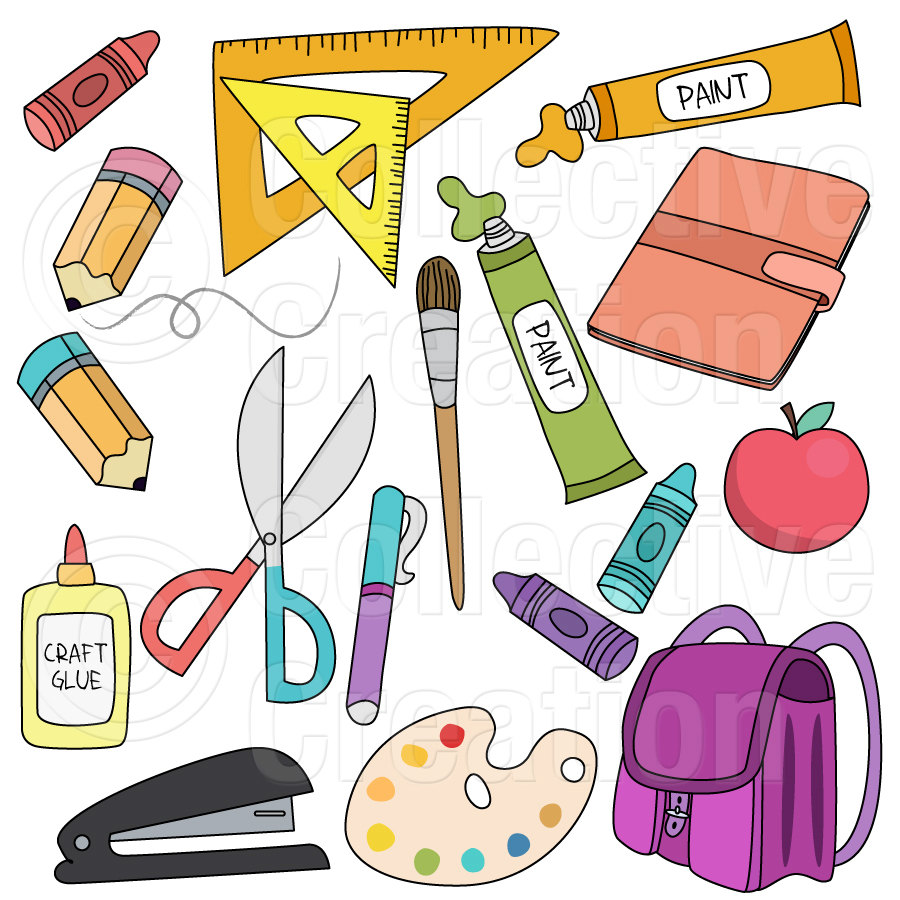 School Materials Clipart - Clipart Kid