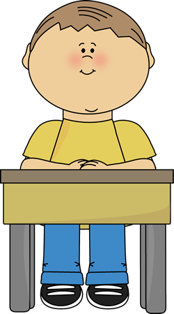 Boy Sitting At School Desk Clip Art Image   Boy Sitting Quietly At A