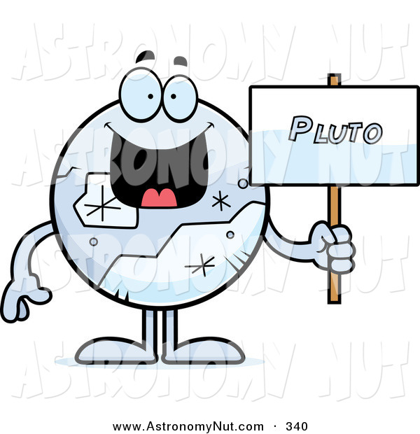 Clipart Of A Planet Pluto Holding A Sign By Cory Thoman    340