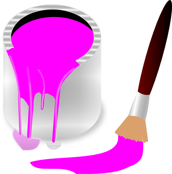 Clipart Pink Paint Bucket And Paint Brush Clip Art At Clker Com