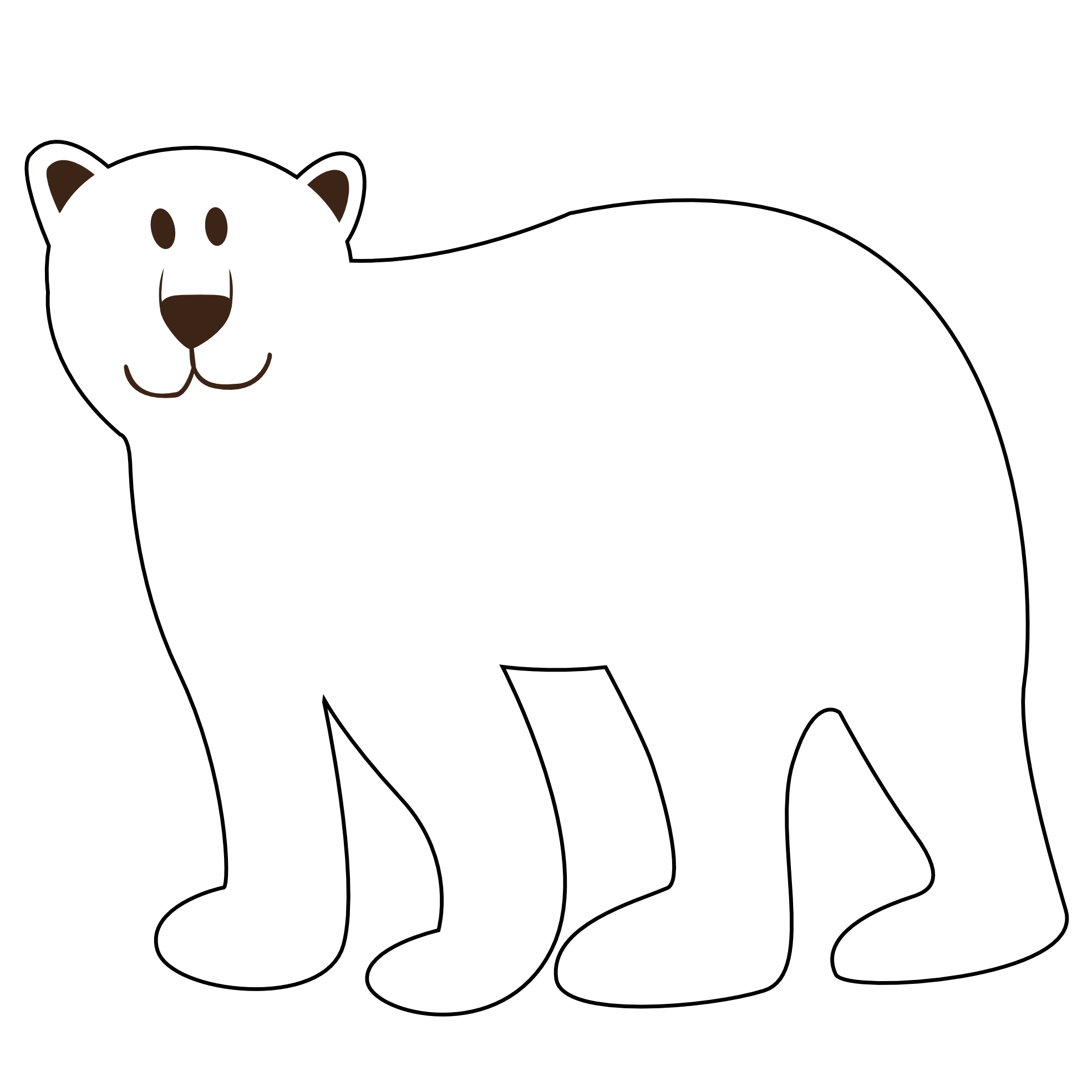 Colorful Animal Polar Bear Black White Line Art Coloring Book