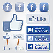 Facebook Social Set Icon Button Like Symbol   Clipart Graphic