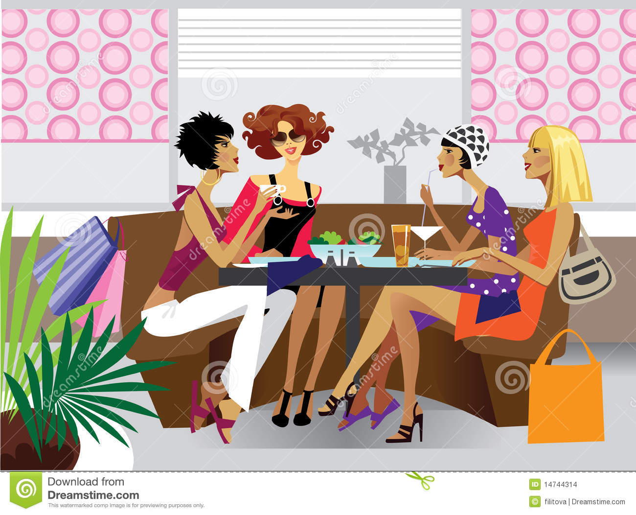 Illustration Of Group Women At Lunch In Caf  Or Restaurant