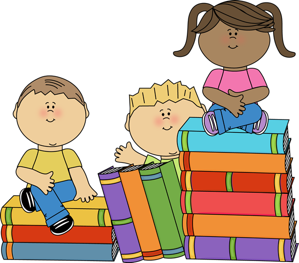 Kids Sitting On Books Clip Art   Kids Sitting On Books Image