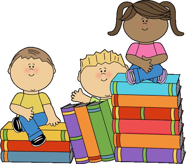 Kids Sitting On Books Clip Art   Kids Sitting On Books Image