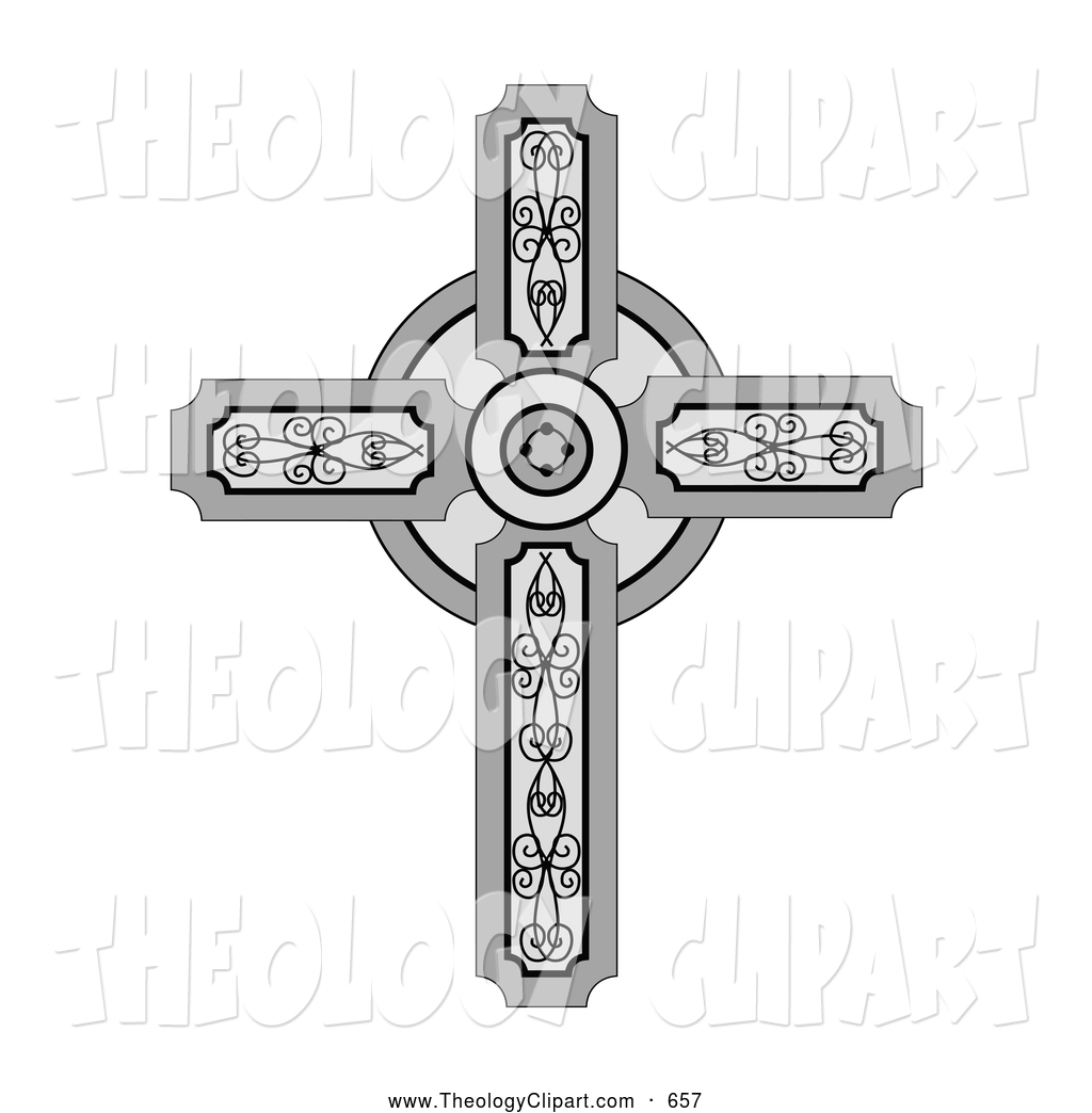Larger Preview  Clip Art Of A Pretty Medieval Christian Cross With