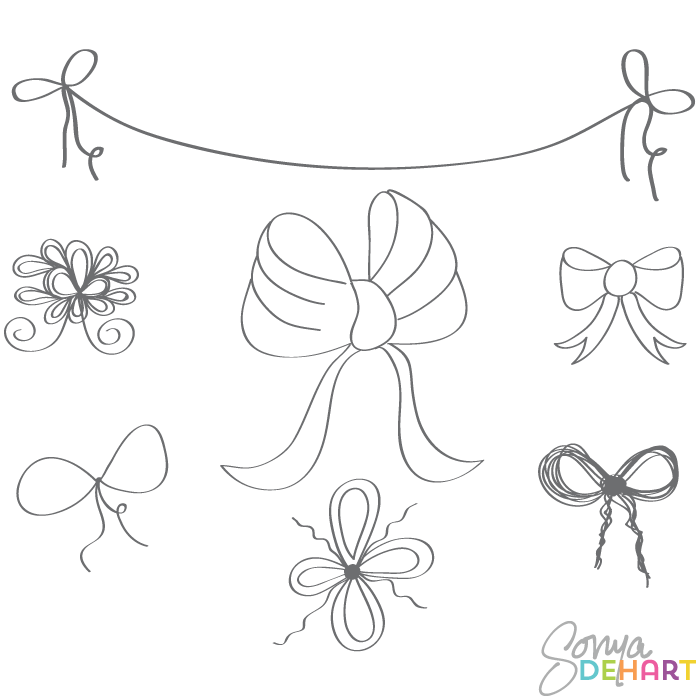 Red String Bow Clipart Clip Art Doodle Bows
