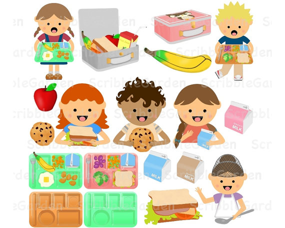 School Lunch Time Cafeteria Digital Clipart