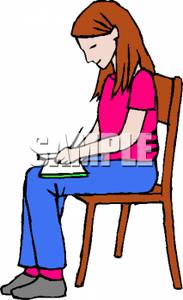 Sit Clipart Girl Sitting In Chair Writing In Book Royalty Free Clipart