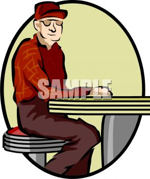 1008 1002 3123 Old Man Sitting At A Lunch Counter Clipart Image Jpg
