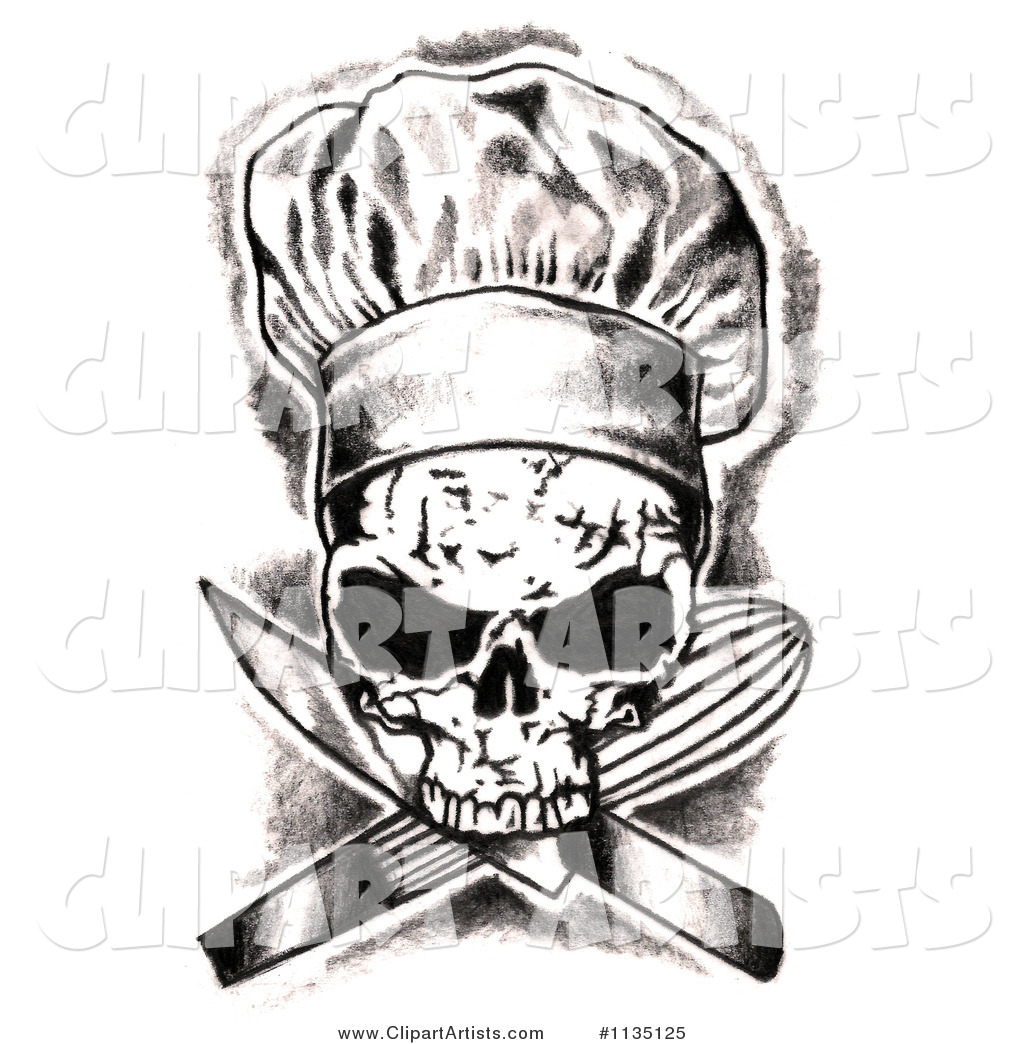 1135125   Black And White Skull Chef And Crossed Knife And Whisk