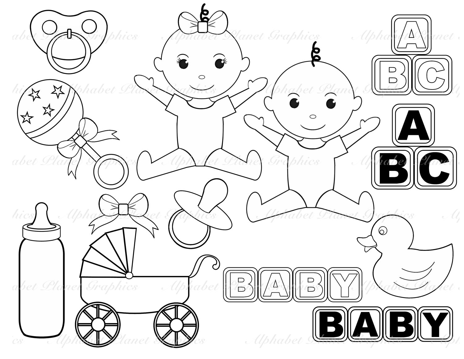 Clip Art Black And White Baby Shower Clipart Clipart Suggest