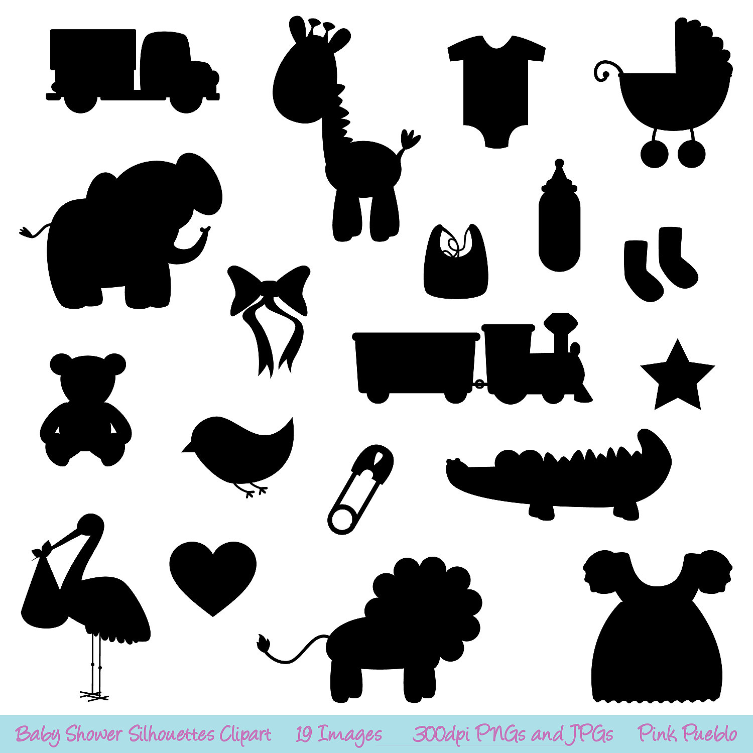 Baby Shower Silhouettes Clipart Clip Art Commercial By Pinkpueblo