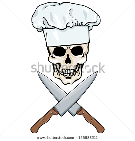 Black And White Skull Chef Crossed Knife Whisk