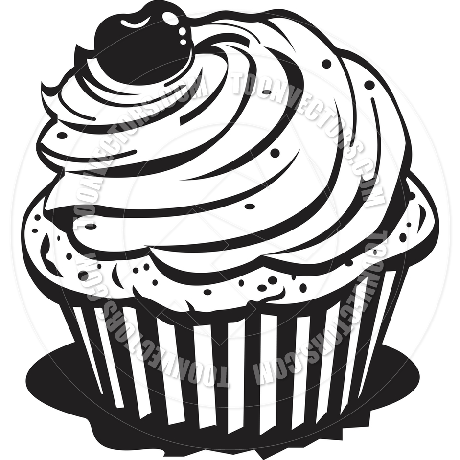 Cute Cupcake Black And White Clipart - Clipart Suggest