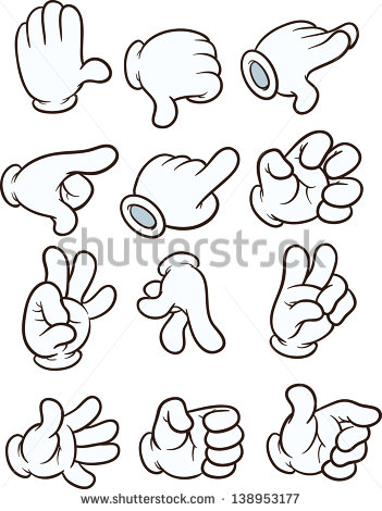Cartoon Gloved Hands  Vector Clip Art Illustration  Each On A Separate