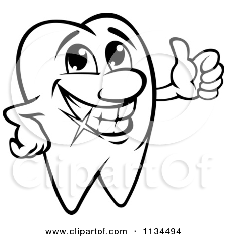Cavity Clipart 1134494 Clipart Of A Happy Black And White Tooth Mascot
